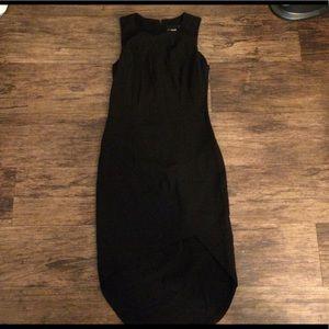 Petite asymmetrical black dress